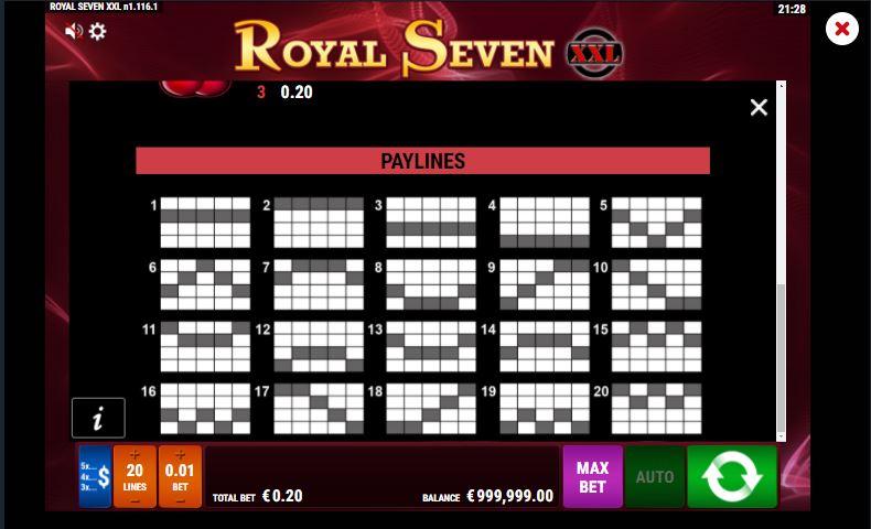 Pay Lines เกมสล็อต Royal Seven XXL